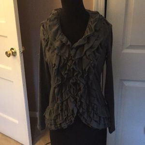 Gray Ruffle sweater Christopher & Banks Size Small
